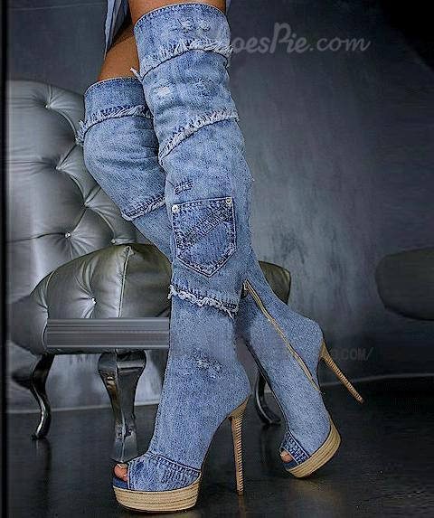 Retro Denim Peep-toe Stiletto Heels Knee High Boots