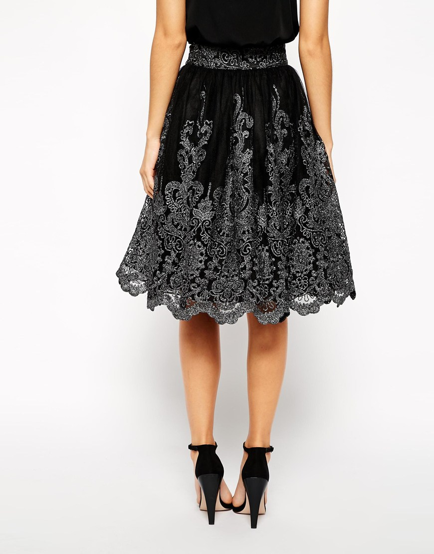Chi Chi London Premium Metallic Lace Full Midi Skirt at asos.com
