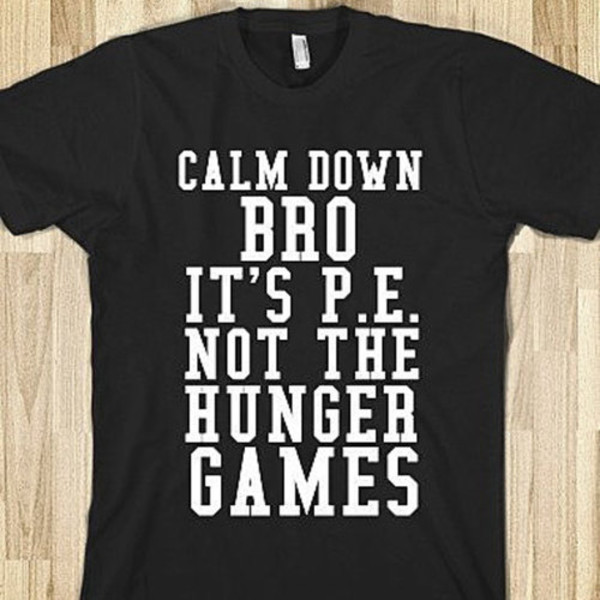 black and white printed shirt cool shirts the hunger games p.e. t-shirt