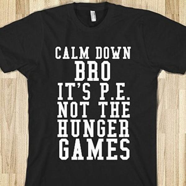 black and white printed shirt cool shirts the hunger games p.e. t-shirt