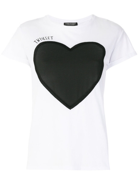 Twin-Set t-shirt shirt t-shirt heart women white cotton print top