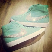 shoes,nike,turqoise,light blue,strass,nikes,sneakers,high top sneakers,jade green