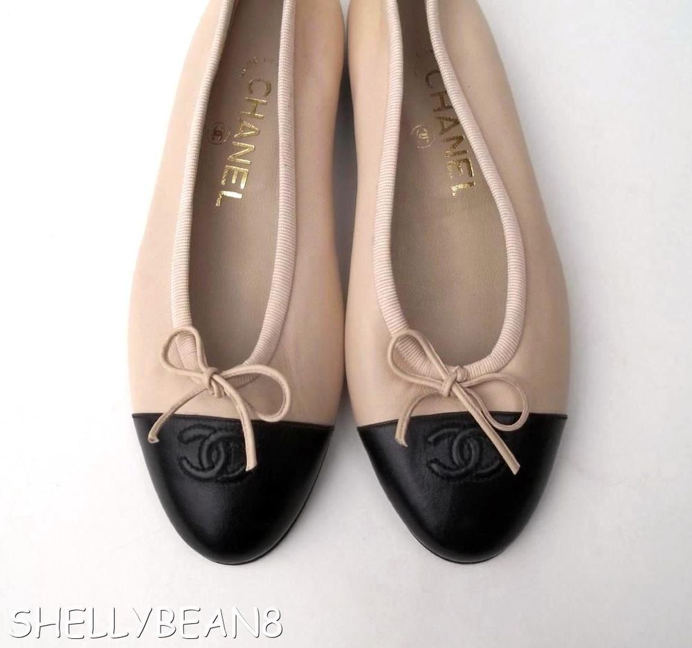 Auth chanel blush pink nude ballet flats shoes black captoe logo cc 36.5 6.5 new