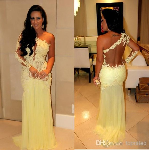 women prom dress evening dress gowns mermaid train sleeveless chiffon yellow lace dress pom dress mermaid prom dresses mermaid dresses