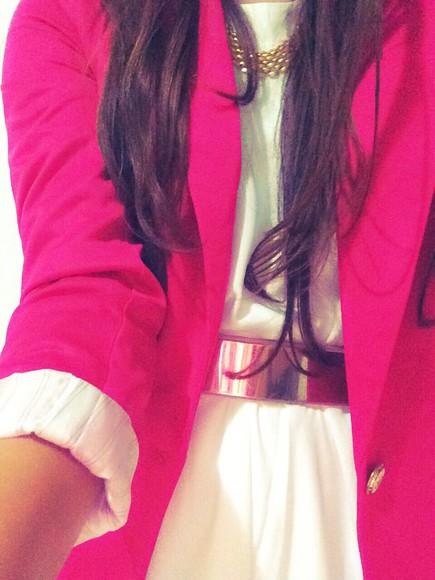 Belt cardigan pink color tailor