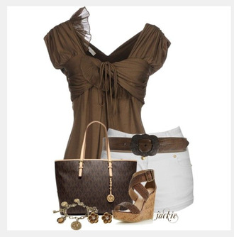 blouse top brown blouse short sleeves baby doll top empire waist cross over top white shorts shoes heels high heels wedges brown wedges bracelets charm bracelet bag purse brown purse asymmetrical top clothes outfit