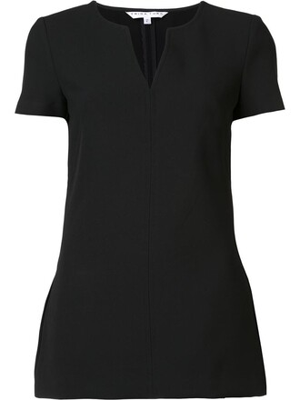 t-shirt shirt women slit spandex cotton black top