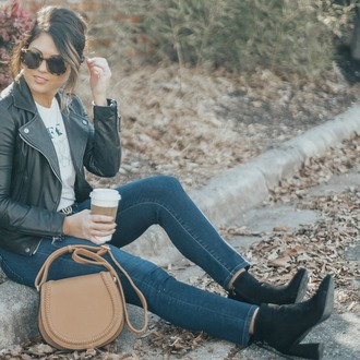 life & messy hair blogger sunglasses t-shirt shoes bag gucci belt black leather jacket shoulder bag ankle boots winter outfits