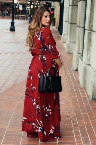 gumboot glam blogger dress shoes bag make-up maxi dress red dress black bag fall dress