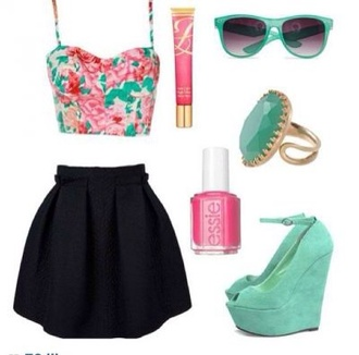 dress black skirt flowerd crop top tank top shoes top floral croptop sunglasses aqua neon flower crown floral crop top lip gloss nail polish aqua high heels