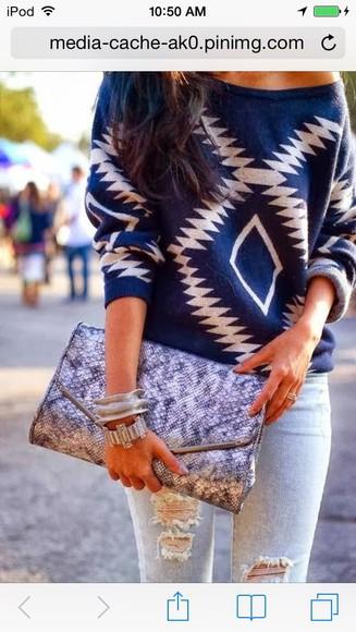 swag tumblr tribal pattern sweater winter sweater blue