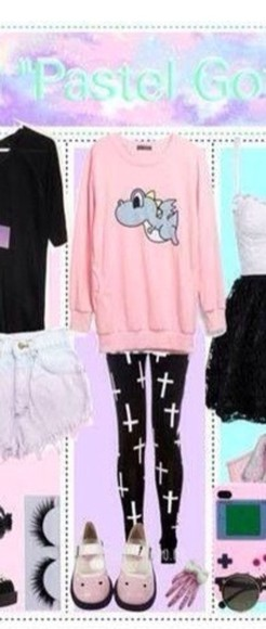 pastel pink cute sweater dinosaur pants