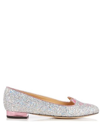 glitter flats silver shoes