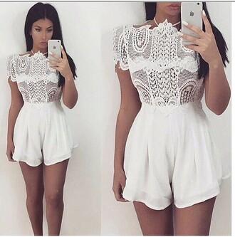 romper lace romper white lace romper jumpsuit lace jumpsuit white jumpsuit lace white cute short girl elegant