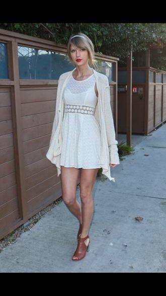 taylor swift white dress cardigan