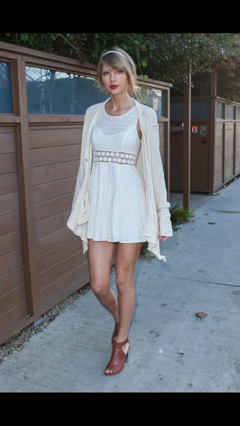 taylor swift white dress cardigan