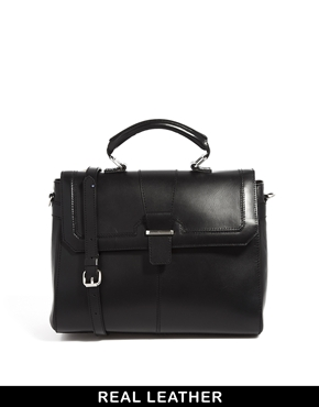 ASOS | ASOS Leather Top Handle Bag With Metal Bar at ASOS
