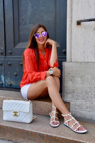 cosamimetto blogger skirt shoes bag sunglasses jewels shirt red shirt chanel bag chanel flat sandals sandals