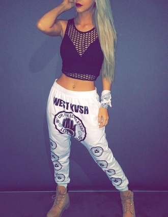 pants gangsta dance black and white cool summer hip hop urban blouse