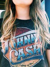 shirt,band t-shirt,vintage,johnny cash