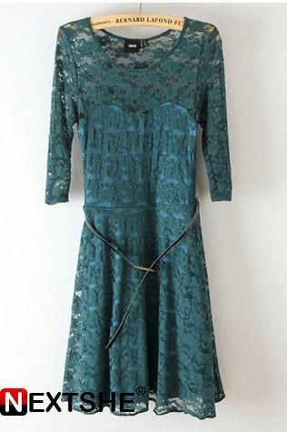 Green lace lotus leaf hem short dress with belt
