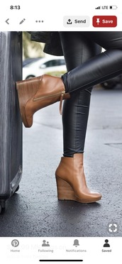 shoes,leather brown wedges,booties