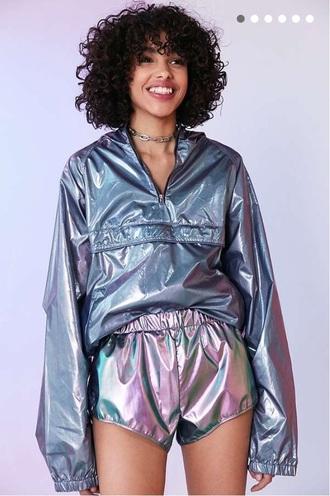 jacket metallic urban outfitters windbreaker iridescent holographic windbreaker