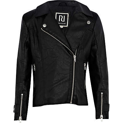 Girls black leather look biker jacket on Wanelo