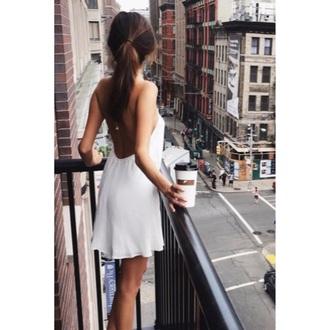 dress white dress short dress swing dress spaghetti strap backless dress