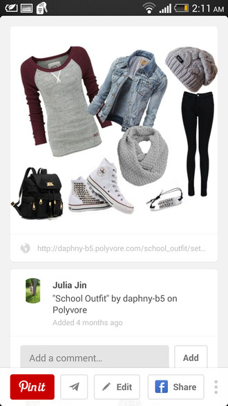 grey and burgundy  shirt. denim jacket black jeans studded shoes grey beanie grey scarf black backpack