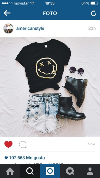 shorts nirvana black grunge boots jeans style t-shirt pants sunglasses