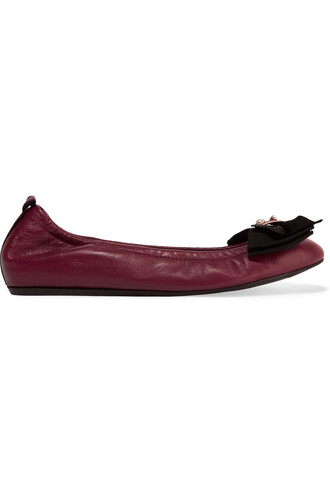 ballet embellished flats ballet flats leather burgundy shoes
