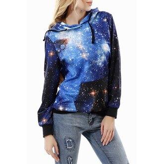 sweater hoodie hooded sweatshirt galaxy print black denim swag