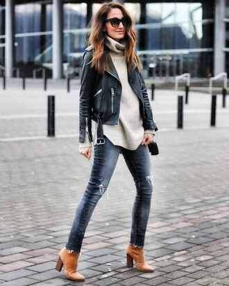jacket grey turtleneck sweater leather jacket ripped skinny jeans brown heeled boots blogger