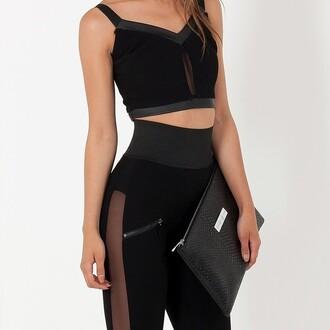 leggings maniere de voir mesh sideless black stretch
