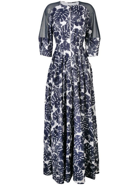 Talbot Runhof gown women floral cotton blue dress