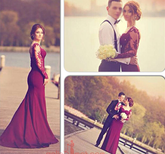 a4cb9c615a2 Aliexpress.com   Buy Sexy Sweetheart Lace Burgundy Long Sleeve Evening Dresses  2015 Floor Length Backless Mermaid Prom ...