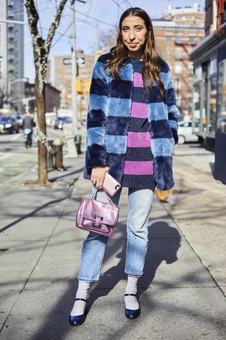 coat nyfw 2017 fashion week 2017 fashion week streetstyle stripes striped coat printed coat printed fur coat fur coat sweater striped sweater jeans denim blue jeans cropped jeans socks socks and sandals bag lilac
