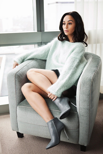 a1722134acb caradisclothed blogger mint sweater sweater oversized sweater black skirt  mini skirt fluffy grey boots fall outfits