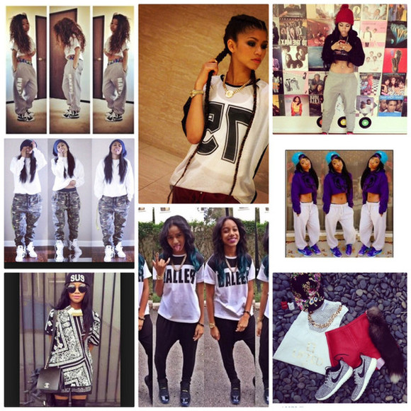 top girl swag blouse clothes cool style zendaya sweatpants girls with swag girls beanie hairstyles camoflauge pants cool girl style