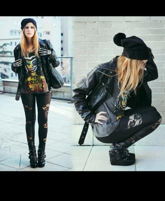 black rock punk rock skeleton gloves barbie spikes studded shoes leather jacket studded bag boobs shirt