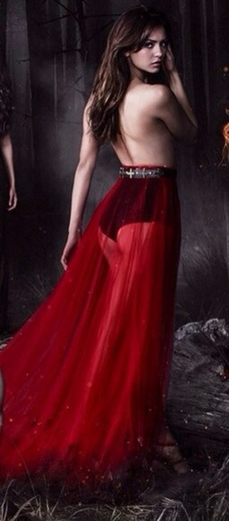 dress red sheer shirt prom dress gown evening gown beautiful red dress high waisted skirt