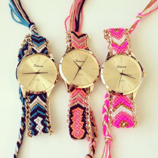 jewels coral orange watch friendship  bracelet geneva aztec