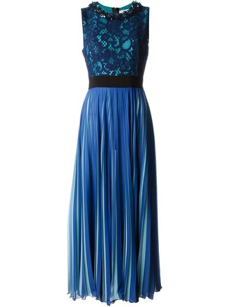 dress pleated dress pleated lace blue
