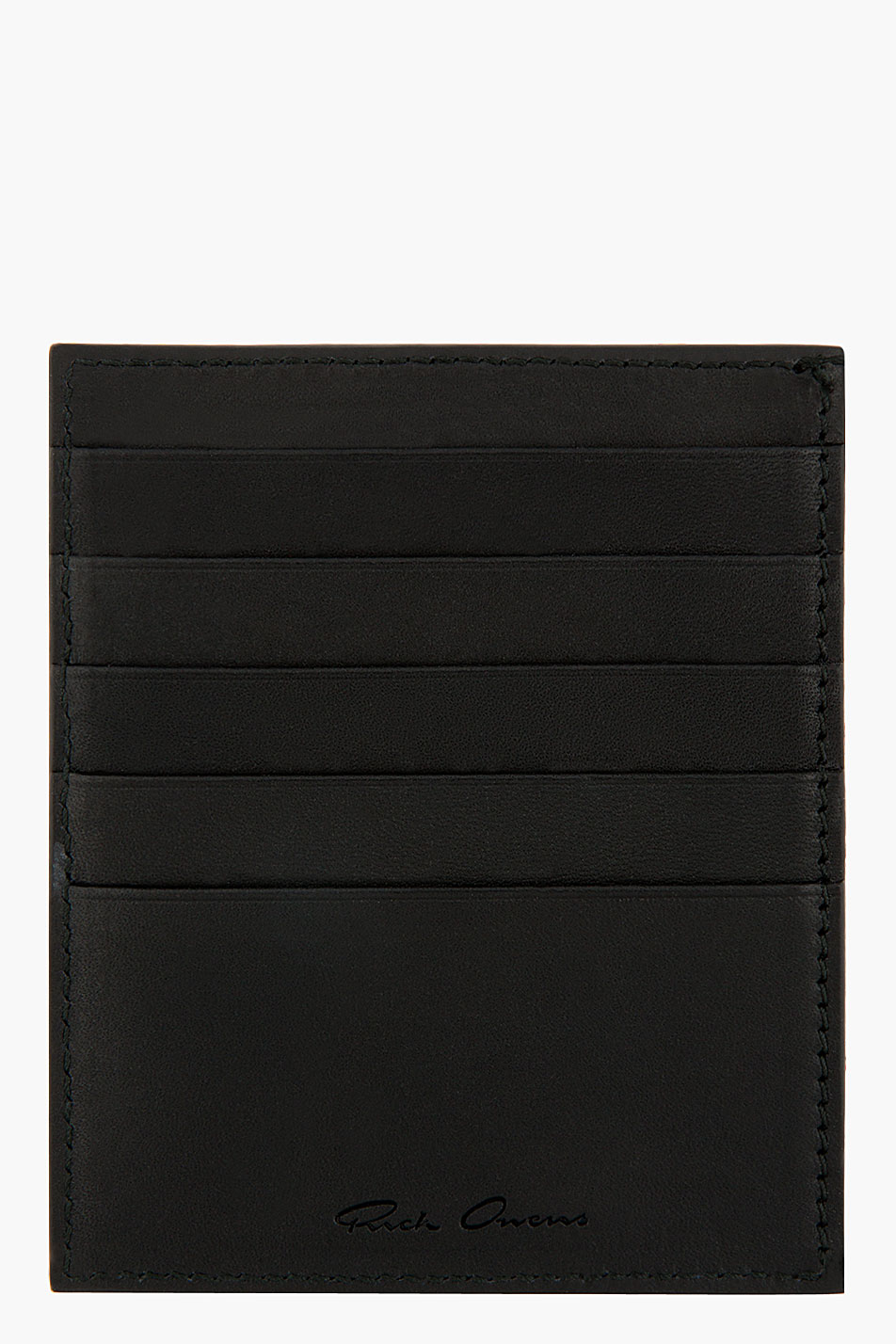 rick owens black toad leather card holder