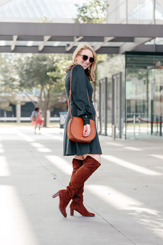 glitter&spice blogger dress shoes bag sunglasses boots brown boots shoulder bag fall outfits