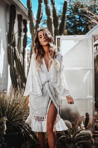 dress tumblr fringes fringed dress midi dress white dress tassel v neck wrap dress slit dress