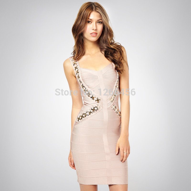 Aliexpress.com : Buy LADY GO 2014 Sexy Lady Hot Apricot Metal V Neck Party Dress Criss Cross Strap Celebrity Bandage Dress Good Quality H1095 from Reliable dress number suppliers on Lady Go Fashion Shop