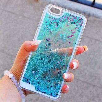glitter stars plastic sea creatures phone cover