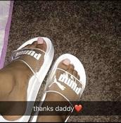 shoes,whit puma slides